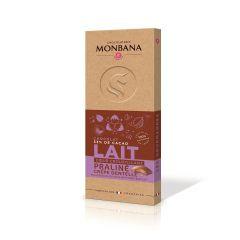 Tablette chocolat lait fourrée praliné crêpe dentelle